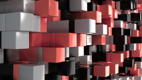 Wall of white, black and red cubes. Abstract colorful 3d background. 3D render illustration Stock Photo