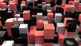 Wall of white, black and red cubes. Abstract colorful 3d background. 3D render illustration Royalty Free Stock Images