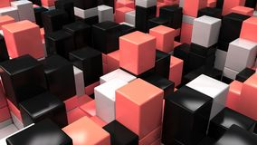 Wall of white, black and red cubes. Abstract colorful 3d background. 3D render illustration Stock Photos