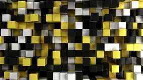 Wall of white, black and yellow cubes Royalty Free Stock Image