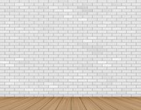 Wall of white brick and wooden floor Stock Photos