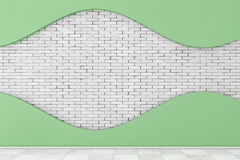 Wall with White Shape Stucco and Brick. 3d Rendering Royalty Free Stock Images