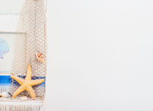 Wall white with starfish,shellfish Royalty Free Stock Image