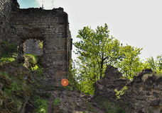 Wall with window of castle ruins Royalty Free Stock Photo
