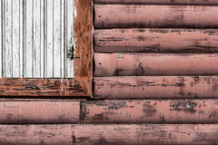 Wall with window. Old wooden wall with window detail royalty free stock photo