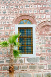 Wall with a window and a palm tree, Dzhumaya Mosque, Plovdiv, Bu Royalty Free Stock Images