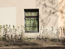 Wall with  window, sunny spring day Stock Photo