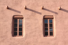 Wall and Windows. Adobe House in Santa Fe, New Mexico Stock Images