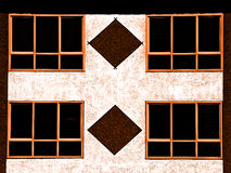 Wall and windows. Wall and four windows background fragment Stock Images