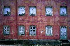 Wall of Windows Colonial Recife, Brazil Stock Images