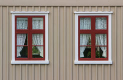Wall with windows and curtains. Vintage wall with windows and curtains stock photography