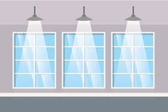 Wall with windows and lamps isolated icon. Vector illustration desing stock illustration