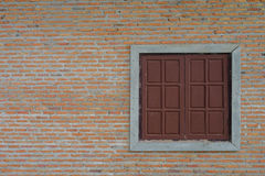 Wall and windows. Wall red brick and windows texture detail Stock Photos