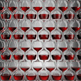 Wall of wineglasses Stock Image