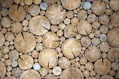 A wall of wood circle Stock Photos