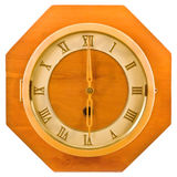 Wall wood retro clock. Royalty Free Stock Photos