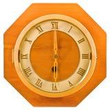 Wall wood retro clock. Royalty Free Stock Photos