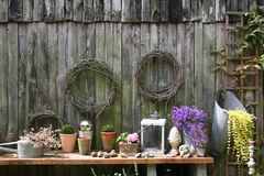 Wall of wooden barn Stock Photos