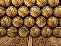 Wall of wooden barrels Royalty Free Stock Image