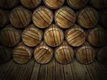 Wall of wooden barrels Stock Photography