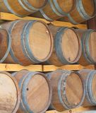 Wall of wooden barrels Royalty Free Stock Photography