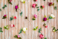 Wall of wooden boards decorated with flowers. Beautiful background for photo studio. Part of interior royalty free stock images