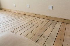 Wall with wooden floor Royalty Free Stock Photo