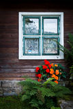 wall of wooden house with window Stock Photography