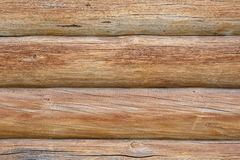 Wall of wooden logs. Background wall of pine logs royalty free stock photo