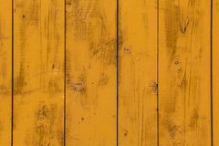 Wall wooden planks painted yellow Stock Photos