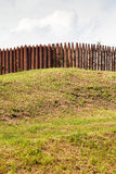 Wall from wooden stakes on rampart. Of old Kremlin in Dmitrov, Russia Royalty Free Stock Photography