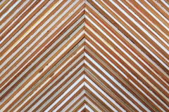 Wall of wooden triangle shapes Stock Photo