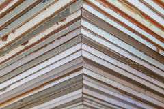 Wall of wooden triangle shapes Stock Images