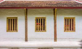 Wall and wooden windows of Buddha image hall of Wat Phra Sing Royalty Free Stock Images