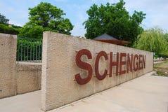 Wall with the word Schengen in Schengen, Luxembourg Stock Images