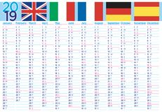 Wall and world calendar 2019 with flags stock illustration