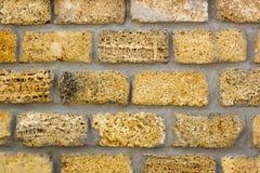 Wall of yellow coquina blocks closeup. Background Stock Photography