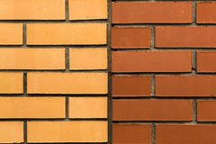Wall of yellow and red bricks Royalty Free Stock Photos