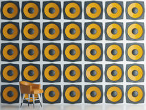 Wall of yellow speakers, 3d illustration royalty free illustration