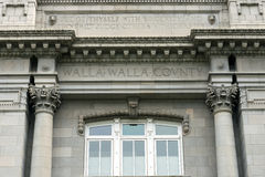 Walla Walla Washington County Courthouse Inscriptions Royaltyfri Fotografi