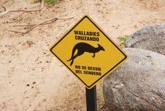 Wallabies пересекая знак Стоковые Изображения