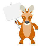 Wallaby with banner. Illustration of a wallaby on a white background Stock Photos