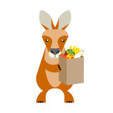 Wallaby with food bag. Illustration of a wallaby on a white background Royalty Free Stock Image