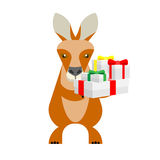 Wallaby with gifts. Illustration of a wallaby on a white background Stock Photography
