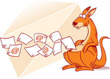 Wallaby. The illustration shows a kangaroo that collects e-mails in a bag. In the background shows a paper envelope. Illustration done in cartoon style, on Royalty Free Stock Photos