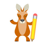 Wallaby with pencil. Illustration of a wallaby on a white background Royalty Free Stock Photos