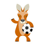 Wallaby soccer player. Illustration of a wallaby on a white background Stock Photo