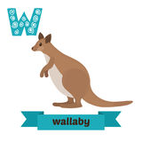 Wallaby. W letter. Cute children animal alphabet in vector. Funn. Y cartoon animals. Vector illustration Stock Photography