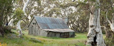 Wallace Hut. Near Falls Creek, Victoria, Australia is the oldest hut in the Alpine National Park. It was built by the three Wallace brothers in or around 1889 Stock Photography