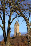 Wallace Monument. Trees frame the Wallace Monument in Stirling, Scotland Royalty Free Stock Images
